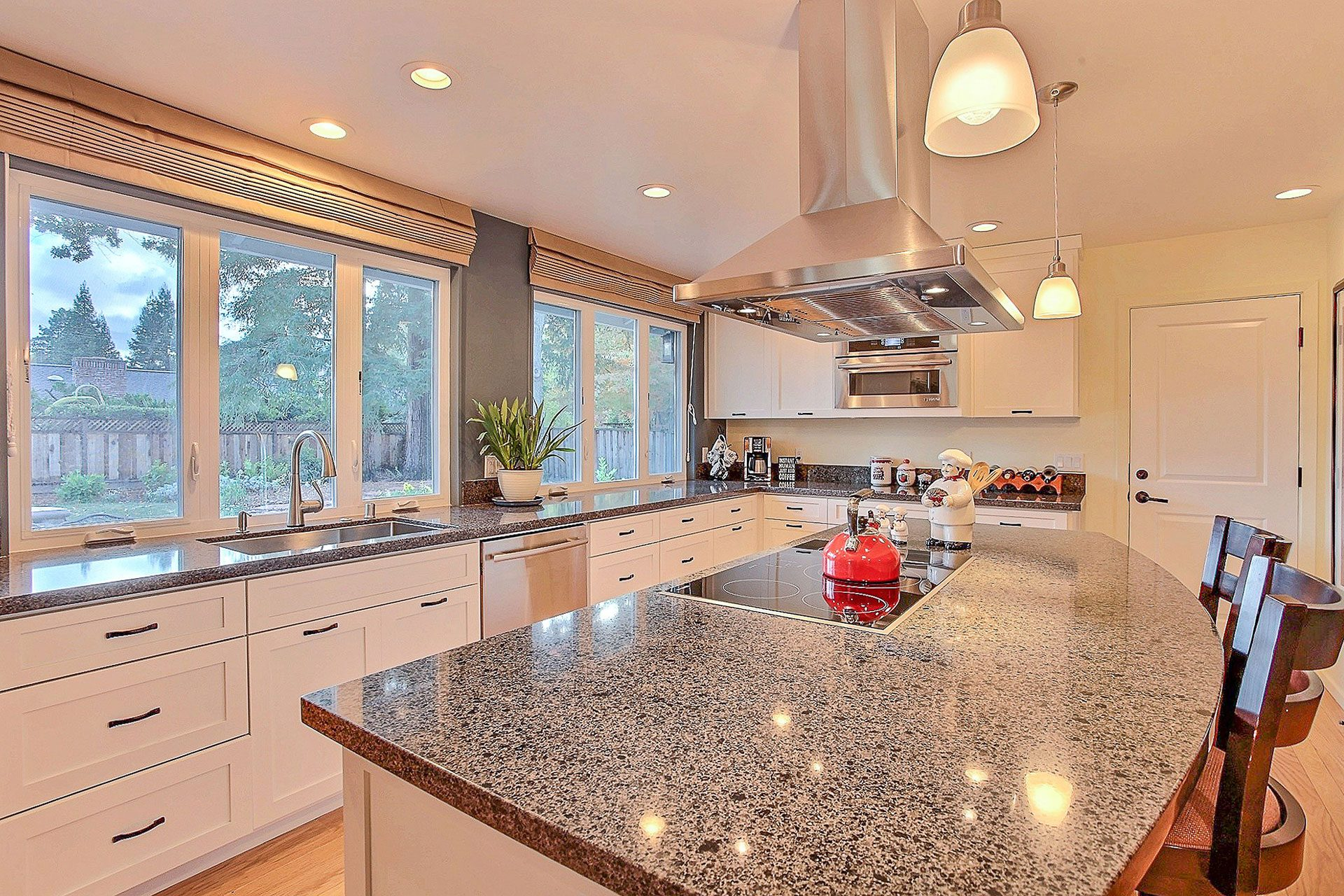 grey and white counter top