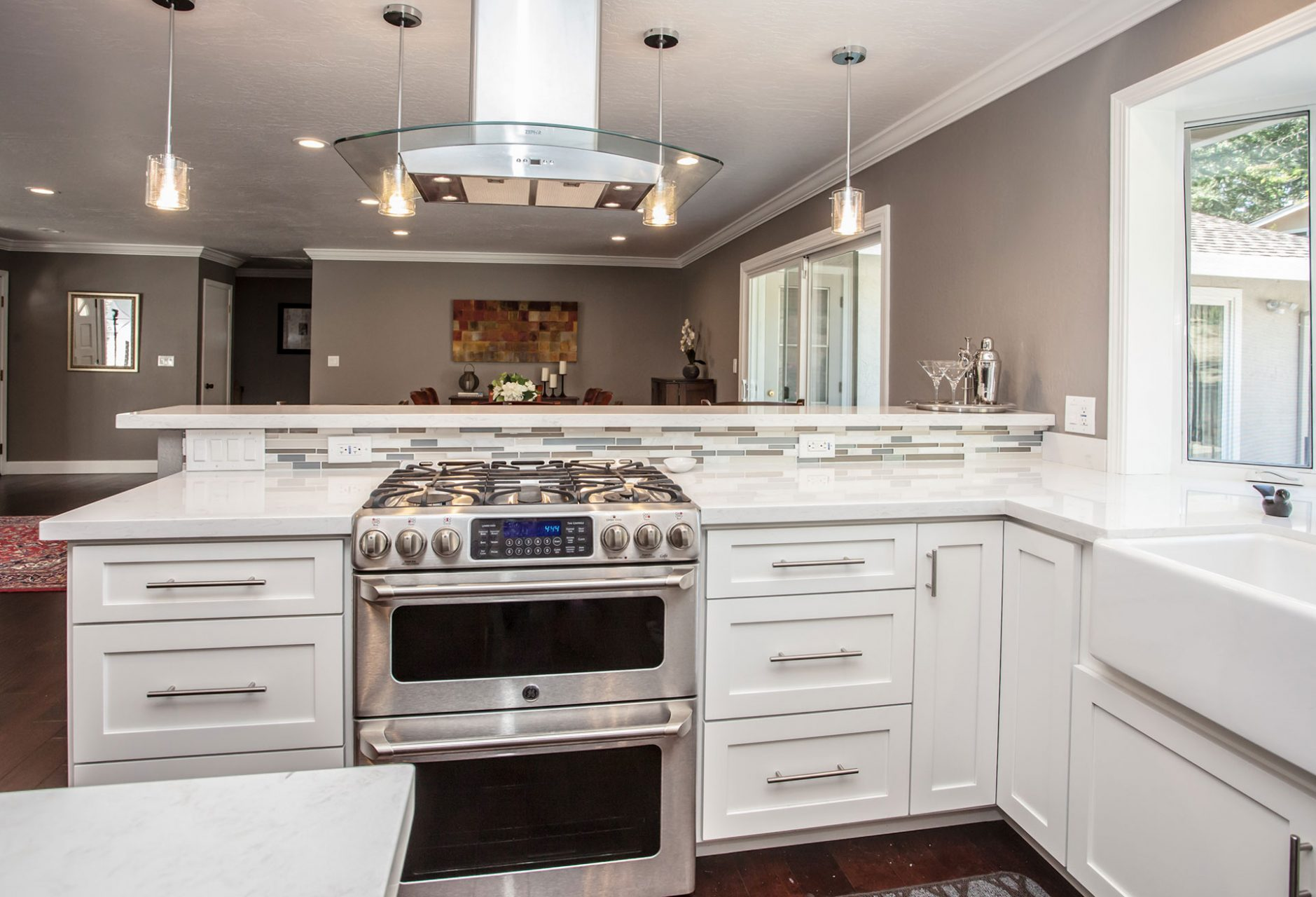 white counter tops and cabinets