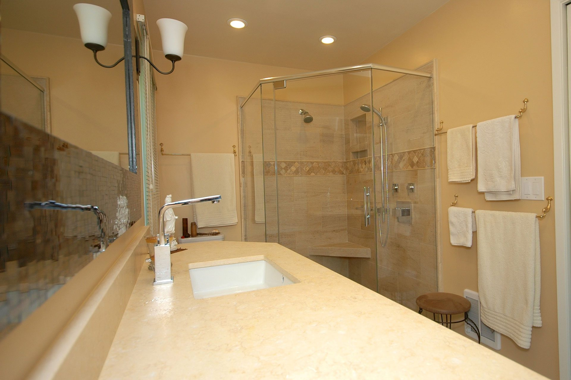 tan bathroom counter top