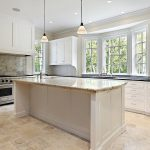 Remodeled kitchen with granite island