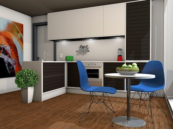 3D design of kitchen with upgraded appliances, white cupboards and walls, bright blue chairs at round table, and multicolored abstract wall art
