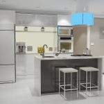 3D design of white-on-white kitchen with double ovens, contemporary cupboards, teal overhead light shade, and center island with sink and stove