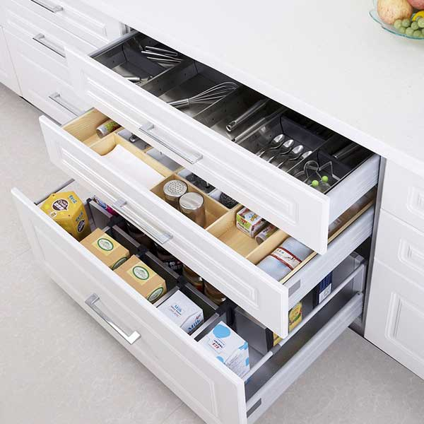 2017 kitchen trends include custom storage solutions like these super divided drawers
