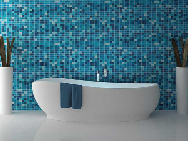 A mermaid trend bathroom is immediately noticeable from its blue-green hues