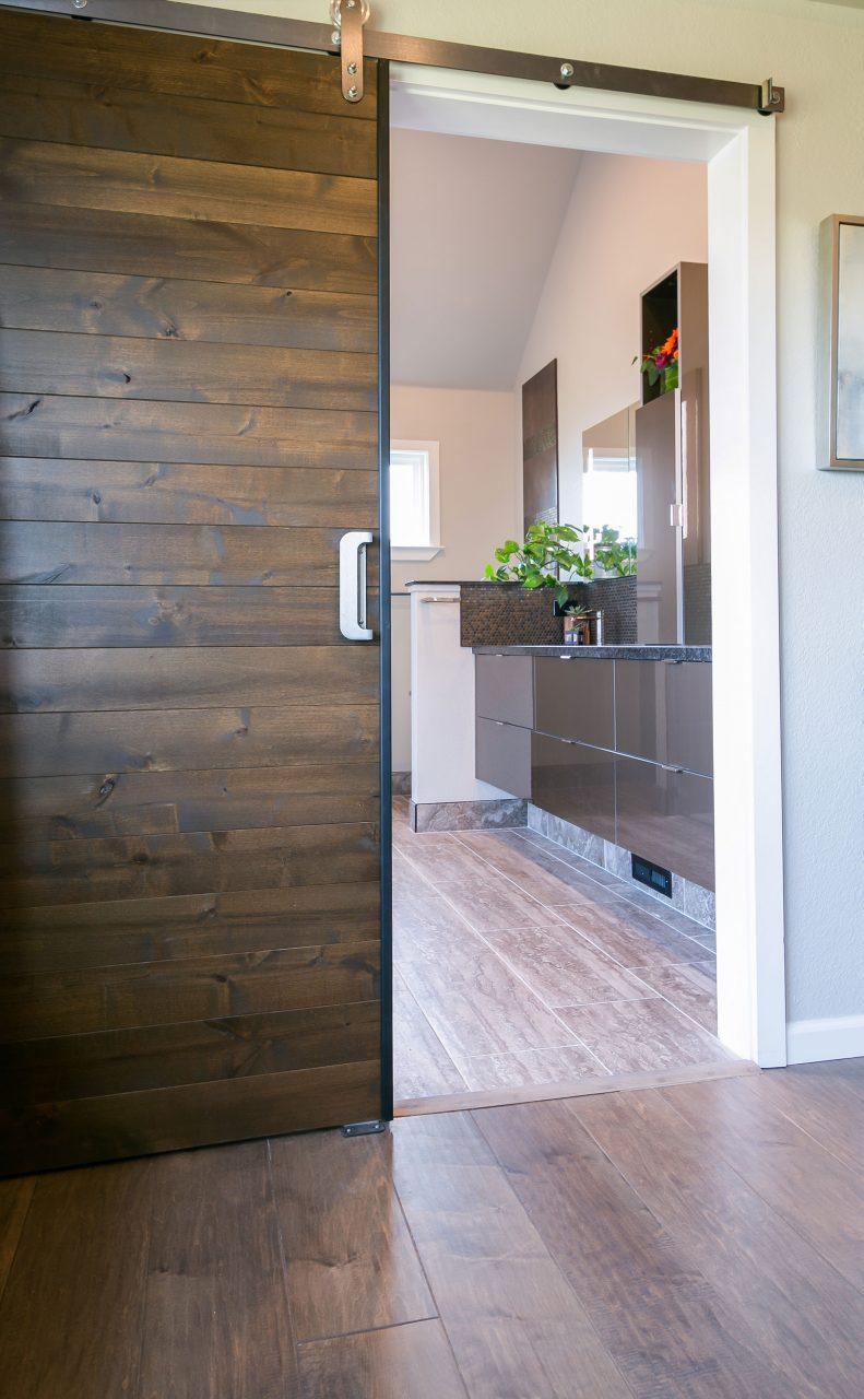 Wooden sliding bathroom door
