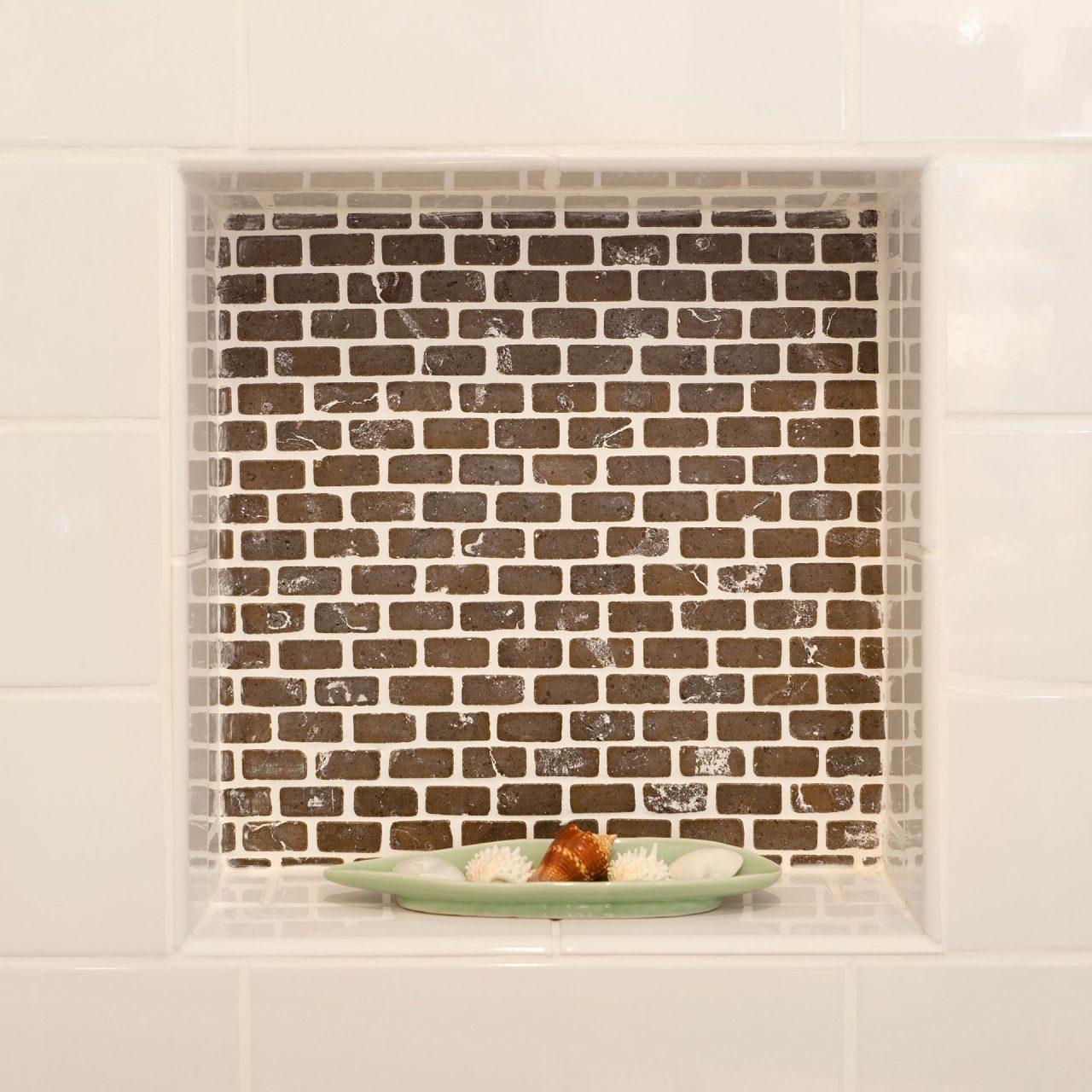 built in shower shelf