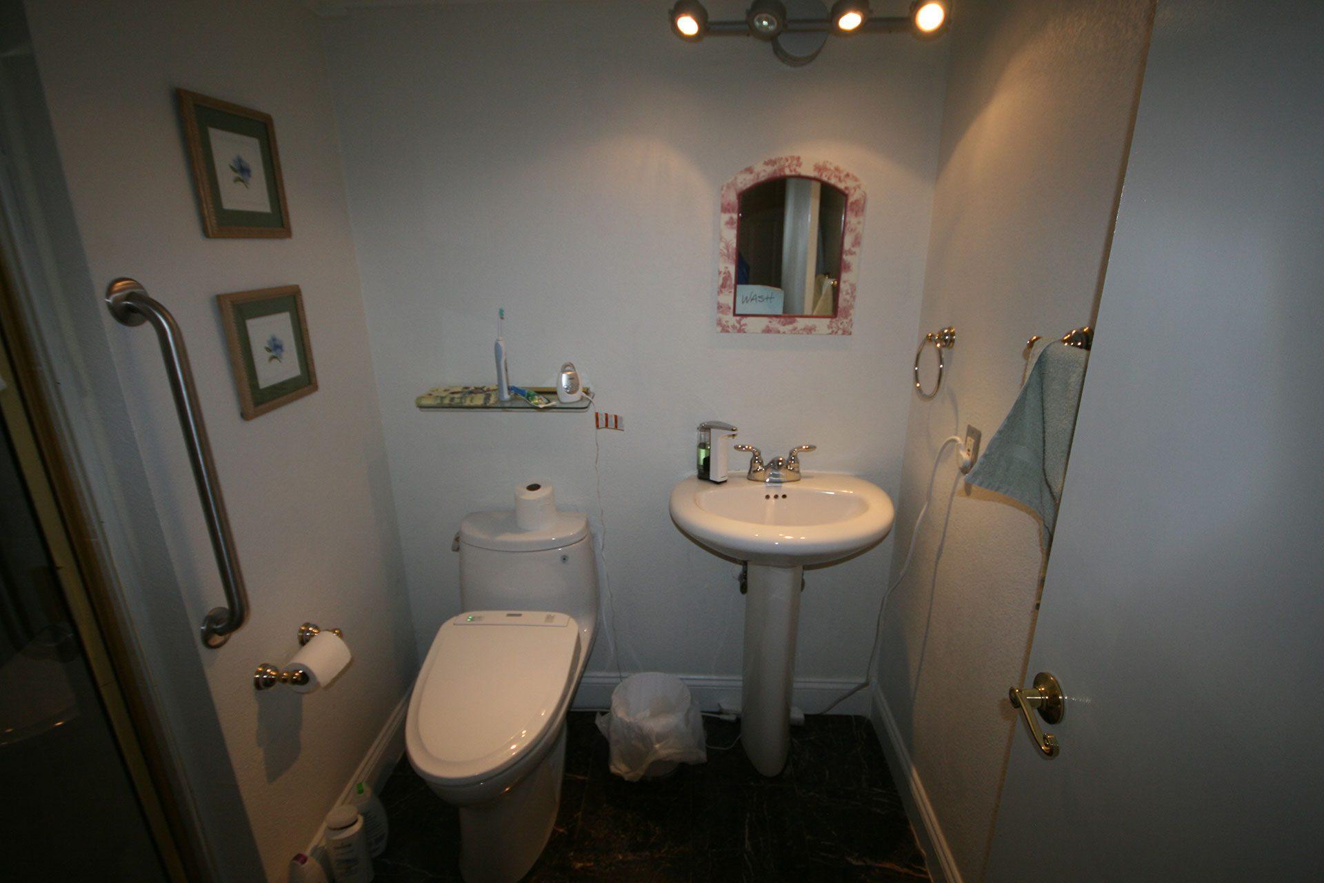 dimly lit bathroom