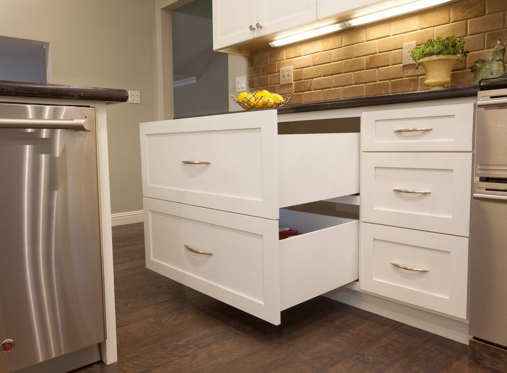 deep white kitchen drawers