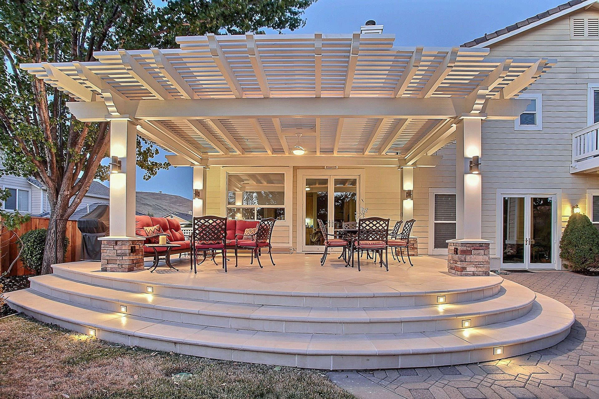 Patio after being remodeled into an entertainment space